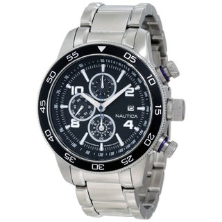 Nautica Men's Stainless Steel Black Dial Chronograph Watch