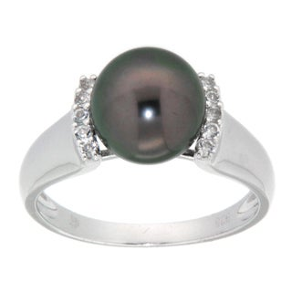 Pearlz Ocean Silver Tahitian Pearl and White Topaz Ring (9-10 mm)