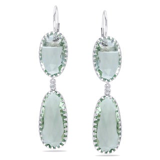 Miadora 14k White Gold Green Amethyst and Diamond Earrings