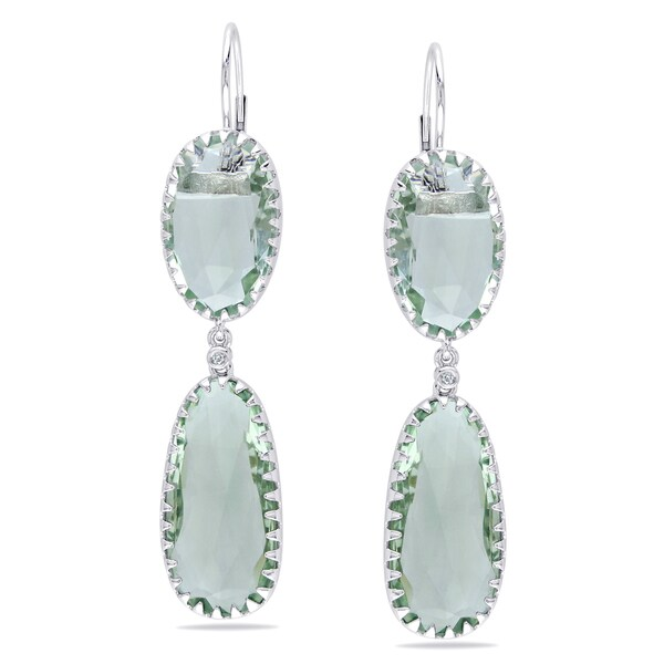 Miadora Signature Collection 14k White Gold Green Amethyst and Diamond Earrings