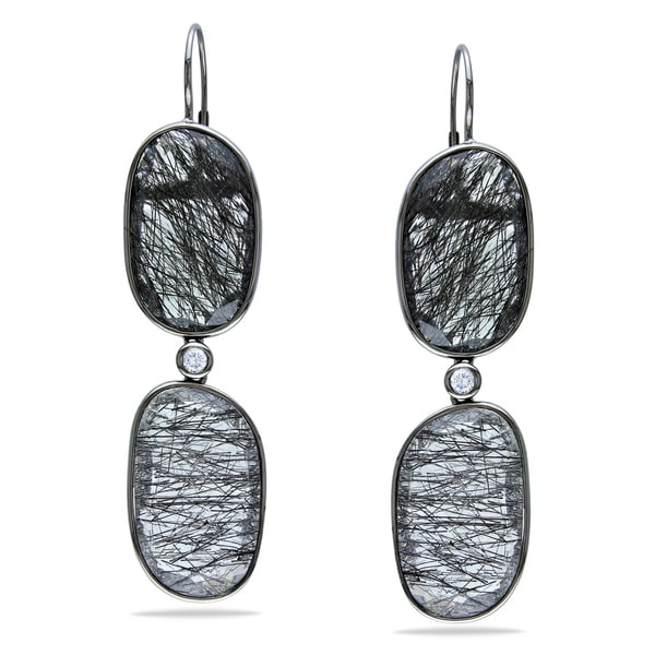 Miadora Signature Collection 14k White Gold Black Rutile Dangle Earrings
