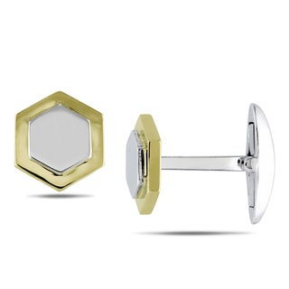 Miadora Signature Collection 14k Two-tone Gold Cuff Links