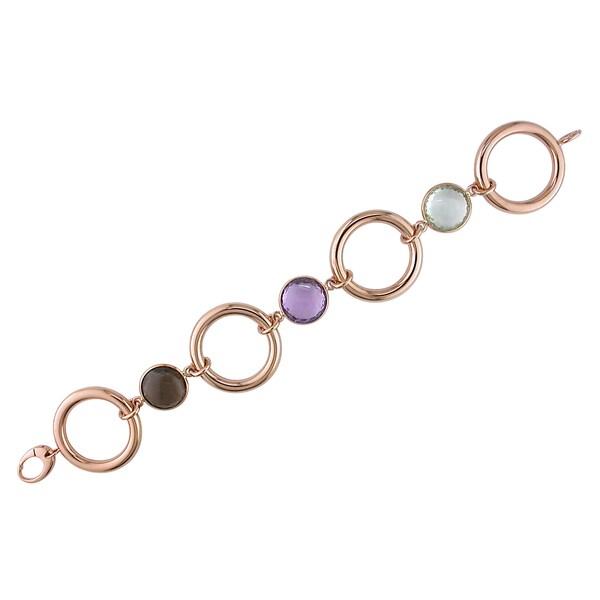 Miadora Signature Collection 18k Rose Gold Amethyst and Quartz Link Bracelet