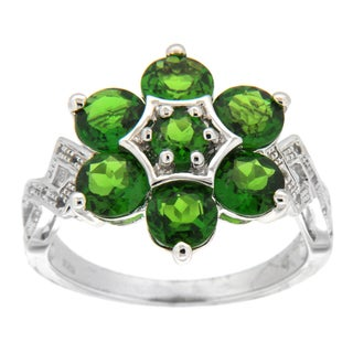 Pearlz Ocean Sterling Silver Round-cut Chrome Diopside and White Topaz Ring
