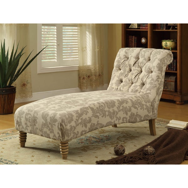 Tufted Chaise in Paisley iKat Fabric
