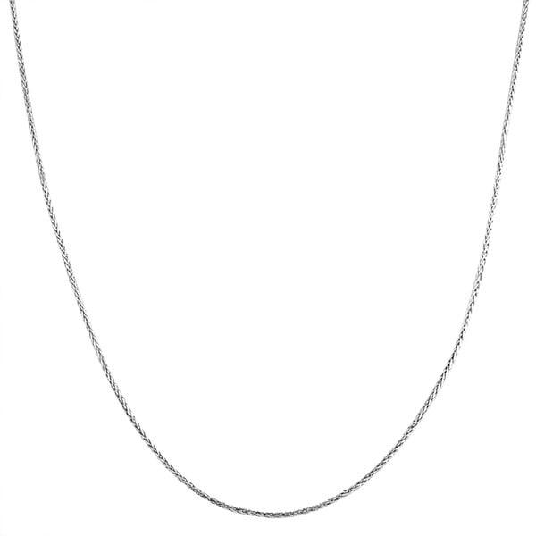 Fremada 14k White Gold 0.7-mm Diamond-cut Square Wheat Chain