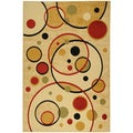 Paterson Collection Contemporary Abstract Circles Ivory Area Rug (8'2 x 9'10)