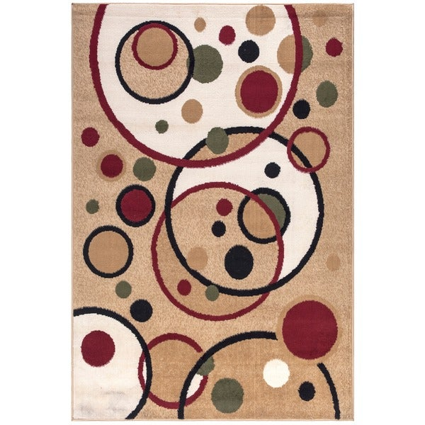 Ottomanson Paterson Collection Contemporary Abstract Circles Ivory Area Rug (7'10 x 9'10)
