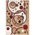 Paterson Collection Contemporary Abstract Circles Ivory Area Rug (7&#39;9 x 9&#39;10)