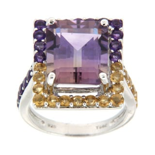 Pearlz Ocean Sterling Silver Emerald-cut Ametrine, Amethyst, and Citrine Ring