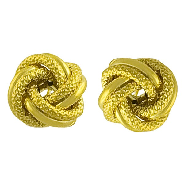 Fremada 10k Yellow Gold Florentine Polished Love Knot Earrings