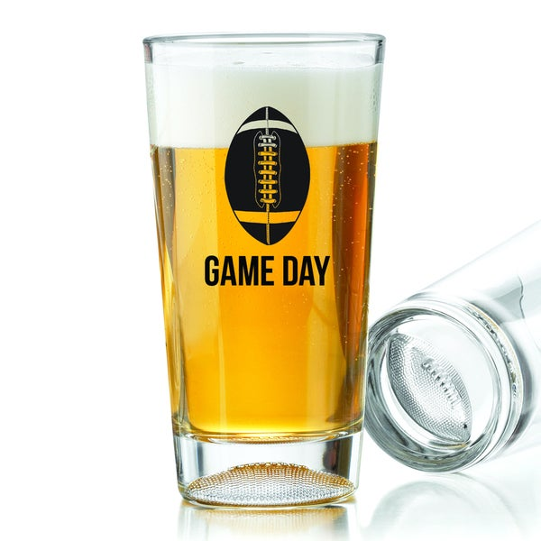 Football Game Day 16-ounce Pint Glasses (Set of 4)