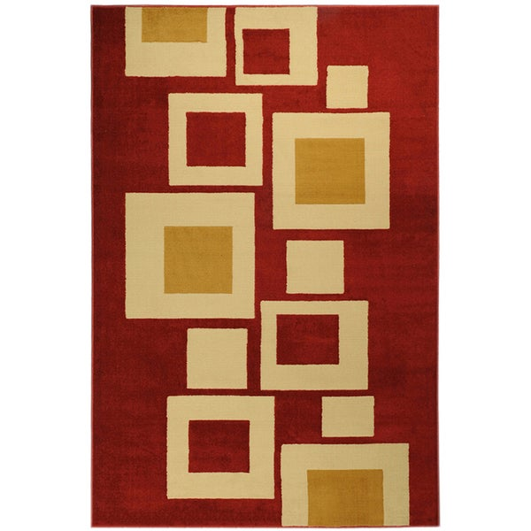 Ottomanson Paterson Collection Contemporary Abstract Boxes Red Area Rug (3'3 x 4'7)