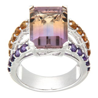 Pearlz Ocean Sterling Silver Ametrine, Amethyst and Citrine Ring