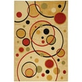 Paterson Collection Contemporary Abstract Circles Ivory Area Rug (5'x 7')