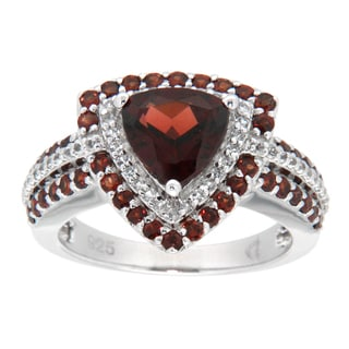 Pearlz Ocean Sterling Silver Trillion Garnet Fashion Ring