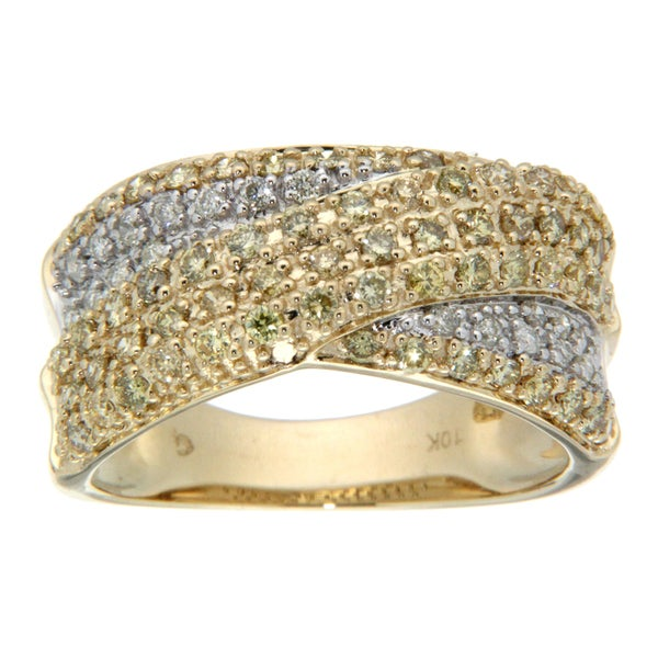 D'sire 10k Yellow Gold 7/8ct TDW Yellow and White Diamond Ring (H-I, SI1-SI2)