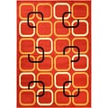 Paterson Collection Contemporary Abstract Red Area Rug (5' x 7')