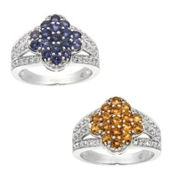 Pearlz Ocean Sterling Silver Iolite or Citrine and White Topaz Ring