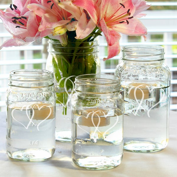 Two Hearts Mason Jar Centerpieces (Set of 4)
