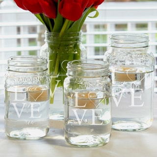 Modern Love Mason Jar Centerpieces (Set of 4)