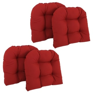 Blazing Needles 19-inch x 19-inch U-shaped Tufted Twill Chair Cushions (Set of 4)
