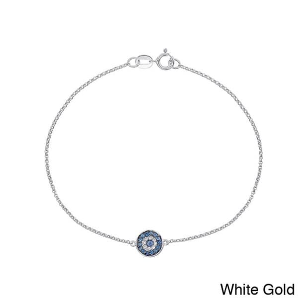 14k White Gold Sapphire and Diamond Accent Evil Eye Bracelet