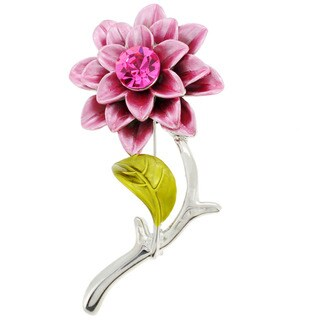 Silvertone Pink Crystal Zinnia Flower Brooch