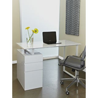 Tribeca White Study Desk with Drawers