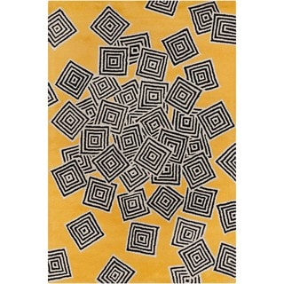 Allie Handmade Geometric Yellow Wool Rug (5' x 7'6)