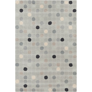 "Allie Handmade Geometric Circle-Patterned Gray Wool Rug (5' x 7' 6"")"