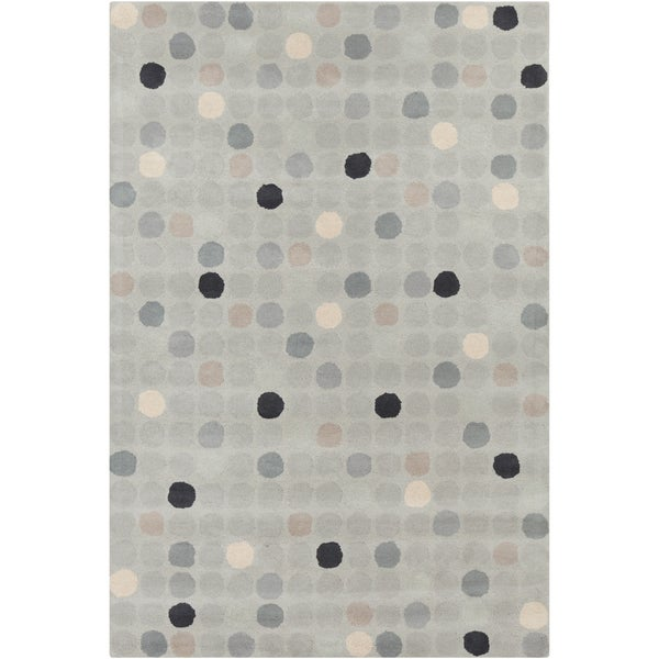"Allie Handmade Geometric Circle-Patterned Gray Wool Rug (5' x 7' 6"")"