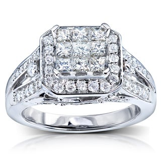 Annello 14k White Gold 1ct TDW Diamond Composite Engagement Ring (H-I, I1-I2)
