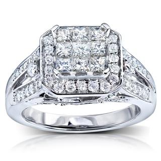 Annello 14k White Gold 1ct TDW Diamond Composite Engagement Ring (H-I, I1-I2)