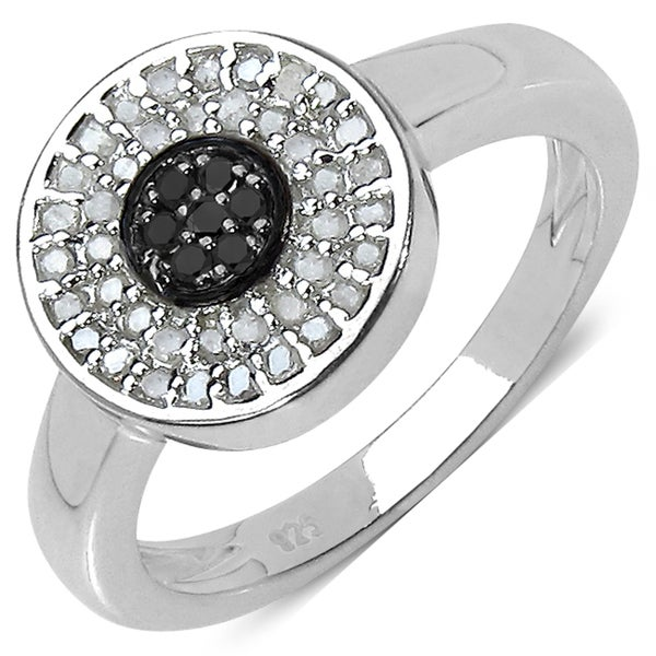 Malaika Sterling Silver 1/4ct TDW Black and White Diamond Ring (I-J, I3)