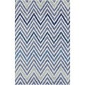Allie Handmade Geometric Blue/ Cream Wool Rug (5' x 7'6)