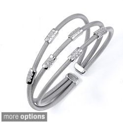 Sterling Silver Cubic Zirconia Station Multi-strand Bangle