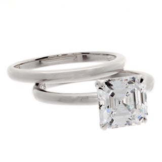 NEXTE Jewelry Sterling Silver Asscher-cut CZ Bridal-style Ring Set