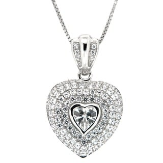 Pearlz Ocean Sterling Silver White Cubic Zirconia Heart Necklace