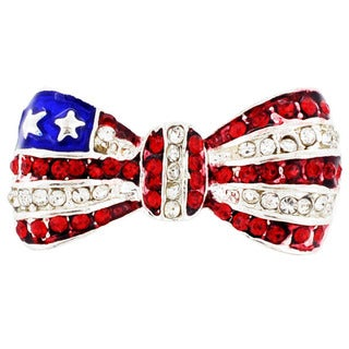 Silvertone Red/ White Crystal American Flag Bow Pin