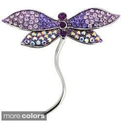 Silvertone Crystal Dragonfly Brooch Pin