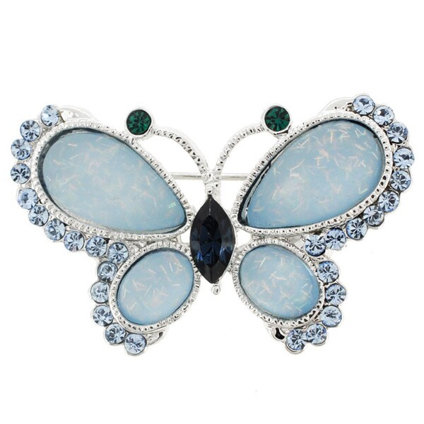 Silvertone Blue and Green Crystal Butterfly Brooch