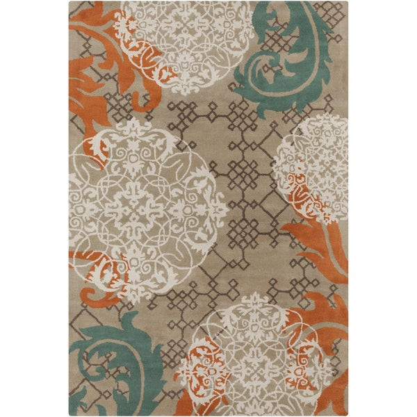 Allie Handmade Abstract Tan Wool Rug (5' x 7'6)