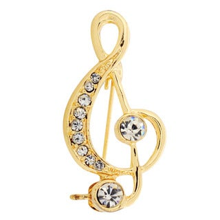 Goldtone Crystal Music Note Brooch Pin