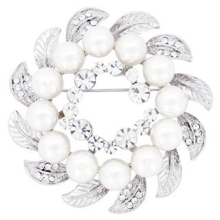 Silvertone Crystal and Faux Pearl Wreath Wedding Brooch