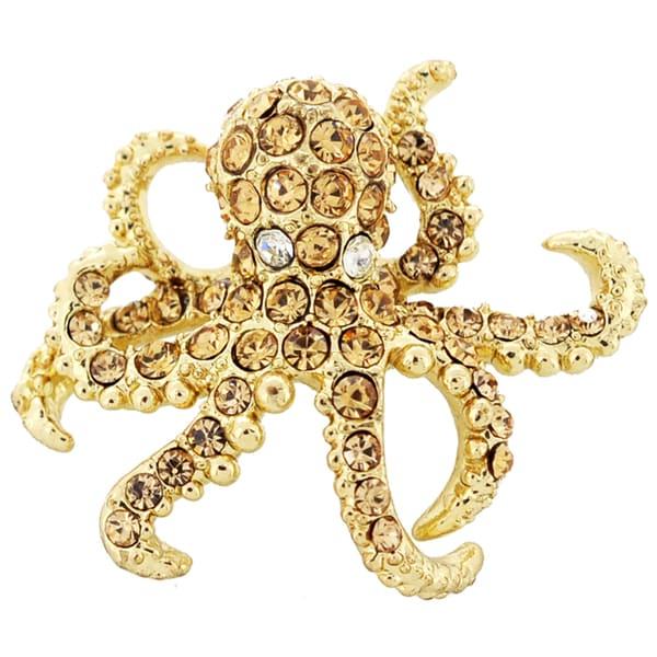 Goldtone Crystal Octopus Brooch Pin