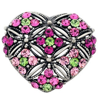 Silvertone Pink/ Green or Red Crystal Heart Brooch