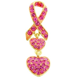 Goldtone Pink Crystal Heart Ribbon Pin Brooch