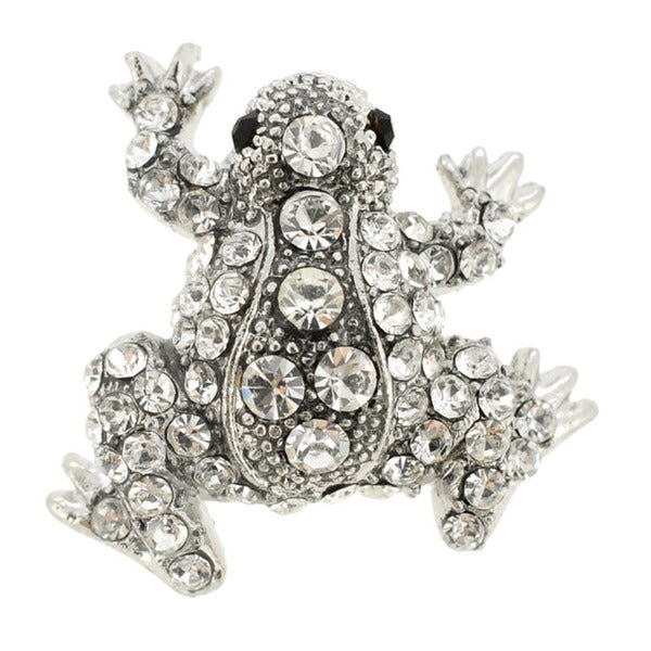Silvertone Crystal Frog Pin Brooch