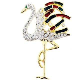 Goldtone Crystal/ Acrylic Christmas Flamingo Pin